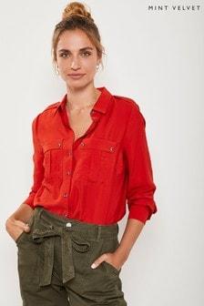 Czerwona luźna koszula Mint Velvet Red