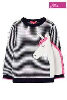 Joules Blue Unicorn Novelty Knitted Jumper