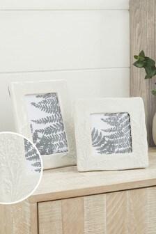 White Ceramic Embossed Floral Photo Frame
