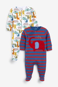2 Pack Elephant Sleepsuits (0mths-2yrs)