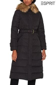 Esprit黑色3M™ Thinsulate™長款夾層外套附人造皮毛領和腰部綁帶