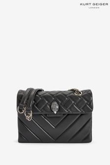 Kurt Geiger London Kensington-Ledertasche, Schwarz