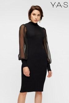 Y.A.S Black Sheer Sleeve Melanie Knitted Dress