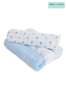 aden + anais Essentials Blue Muslin Swaddle Blanket 4 Pack