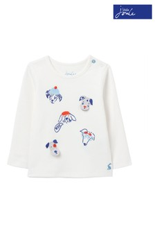 Joules wit Chomp T-shirt van biologisch katoen met applicatie