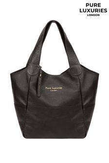 PureLuxuries London Black Freer Leather Tote Bag