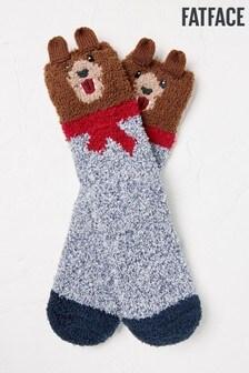 FatFace Kuschelige Socken Bär, braun