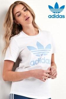 T-shirt adidas Originals blanc/bleu logo trèfle