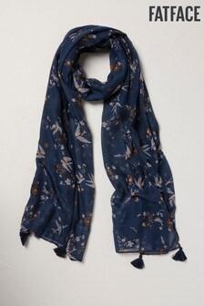 FatFace Schal mit Vogelaufdruck, Blau