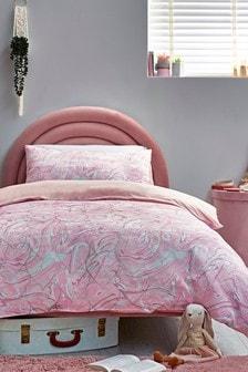 Pink Metallic Hearts Jacquard Duvet Cover and Pillowcase Set