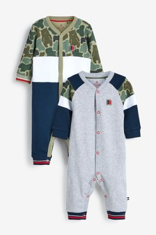 2 Pack Sporty Colourblock Sleepsuits (0mths-2yrs)
