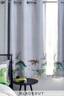 Grey Dino Land Eyelet Blackout Curtains