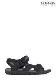 Geox Men's Strada Black Sandals