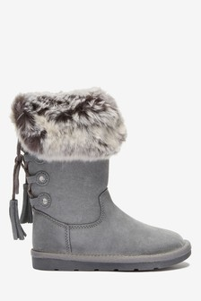 Leather Tall Faux Fur Pull-On Boots (Older)