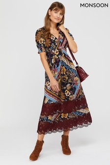 Monsoon Red Ruby Print Lace Insert Jersey Midi Dress