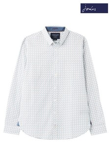 Joules White Invitation Classic Fit Printed Shirt