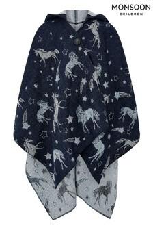 Monsoon Blue Connie Sparkle Unicorn Poncho