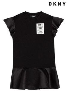 فستان أسود بشعار بكشكشة منDKNY