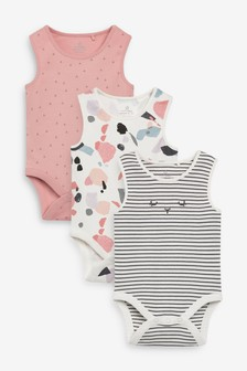 3 Pack Abstract Stripe Vest Bodysuits (0mths-3yrs)