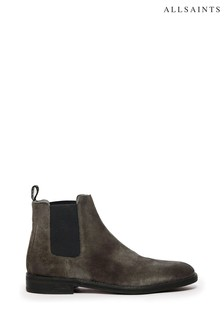 AllSaints Charcoal Grey Harley Chelsea Suede Shoes