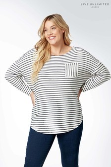 Live Unlimited White/Navy Jersey Stripe T-Shirt