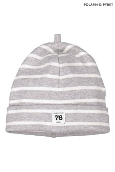 Polarn O. Pyret Grey GOTS Organic Striped Hat