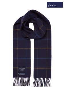Joules Blue Tytherton Wool Checked Scarf