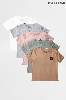 River Island Pink Light Multipack Pastel T-Shirts Five Pack