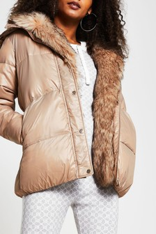 River Island Brown Light Chubby Padded Jacket