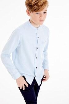 Textúrovaná košeľa s dlhými rukávmi bez goliera (3 – 16 rok.)