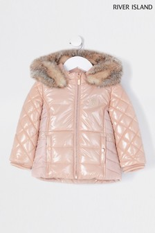 River Island Pink Light High Shine Harvey Padded Jacket