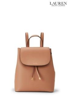 Lauren Ralph Lauren® Nude Leather Drawstring Flap Backpack