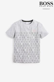 Sivé tričko BOSS s poprehadzovanými písmenkami