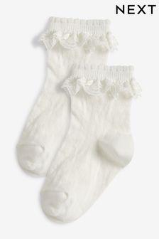 Набор из 2 пар ажурных носков с оборками