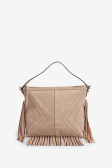 Fringed Stitch Detail Hobo Bag