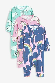 3 Pack Unicorn Rainbow Footless Sleepsuits (0mths-3yrs)