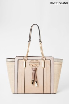 River Island Beige Weave Winged Tote