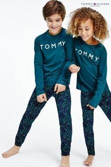 Ensemble pyjama Tommy Hilfiger vert à imprimé phosphorescent
