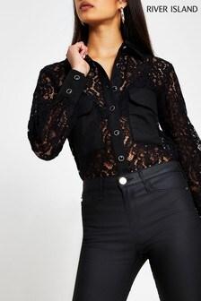 River Island Black Pocket Contrast Lace Shirt
