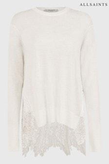 AllSaints White Aspyn Lace Back Jumper