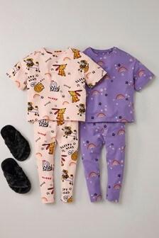 Набор из 2 пижам с леггинсами, одна модель с принтом собачек (3-16 лет)