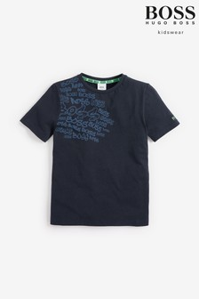 Tmavomodré tričko BOSS s grafitmi