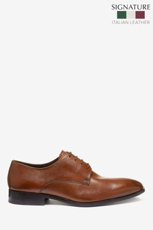 Signature Textured Leather Derby Shoes