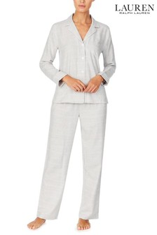 Ralph Lauren Grey Brushed Herringbone Notch Collar Pyjamas