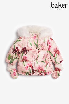 Розовая дутая куртка с принтом Baker by Ted Baker