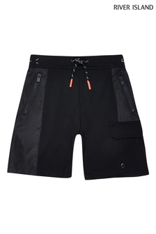 River Island Black Nylon Jersey Blocked Shorts