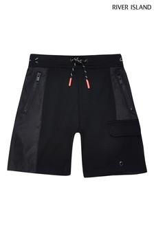 River Island Blocked Shorts aus Nylon und Jersey, Schwarz