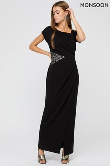 Monsoon Black Octavia Sequin Insert Maxi Dress