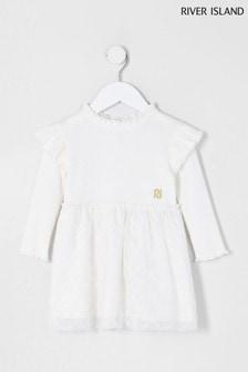 River Island Cream Cosy Tulle Hem Dress