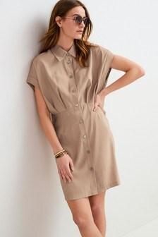 Pleat Detail Mini Dress